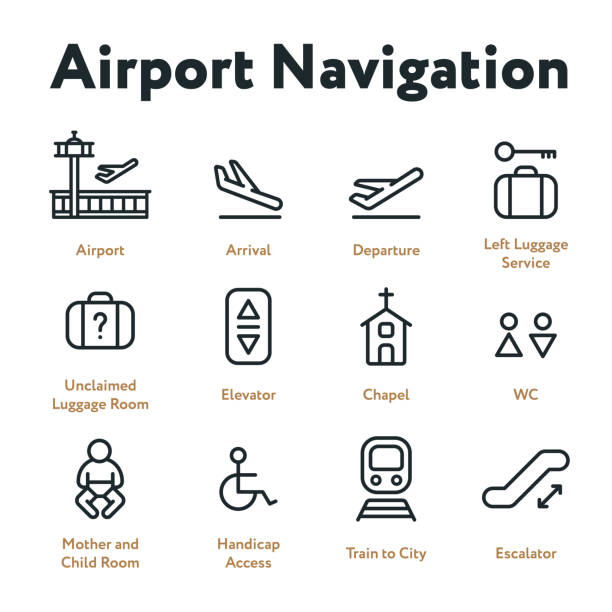 airport navigation wayfinding minimal flat line outline stroke icon set. arrival, departure, elevator, escalator, chapel, mother and child room. - wayfinding icons stock illustrations, clip art, cartoons, & icons
