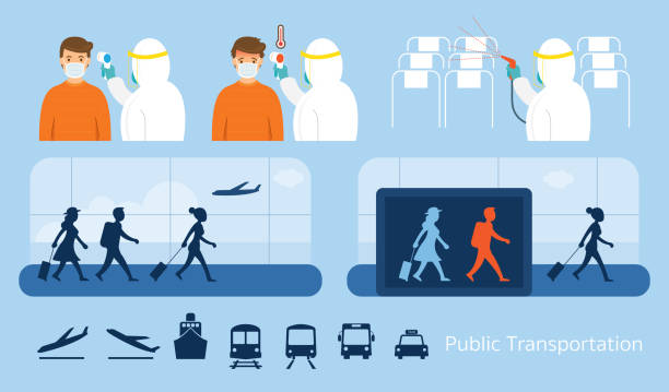 Airport or Public Transport, Preventive Measure for Coronavirus or Covid-19 Traveller, Passenger Control with Thermoscan, Cleaning Passenger Cabin fever stock illustrations