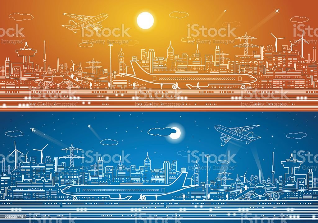 Airport panorama, aircraft on runway, airplane takeoff, city infrastructure on background, vector art illustration