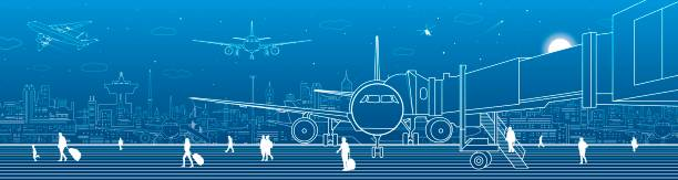 Airport panorama. The plane is on the runway. Aviation transportation infrastructure. Airplane fly, people get on the plane. Night city on background, vector design art Airport panorama. The plane is on the runway. Aviation transportation infrastructure. Airplane fly, people get on the plane. Night city on background, vector design art airport drawings stock illustrations