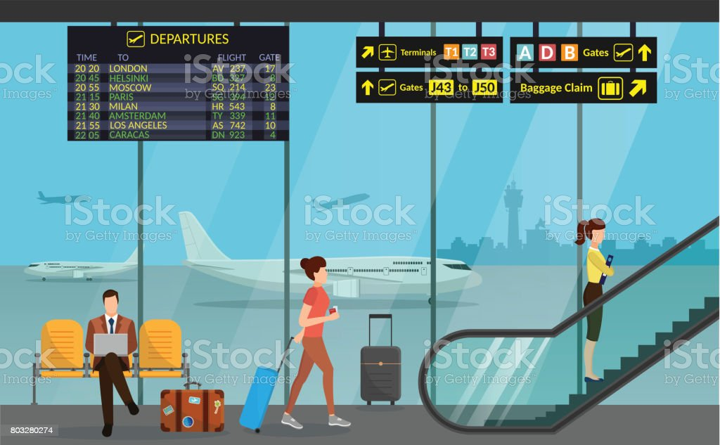 Aérogare de l'aéroport et de la salle d'attente. Internationaux d'arrivée départs background vector illustration avion d'infographie - Illustration vectorielle