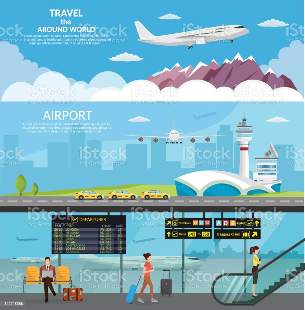 Aérogare de l'aéroport et de la salle d'attente. Internationaux d'arrivée départs background vector illustration avion infographique - Illustration vectorielle
