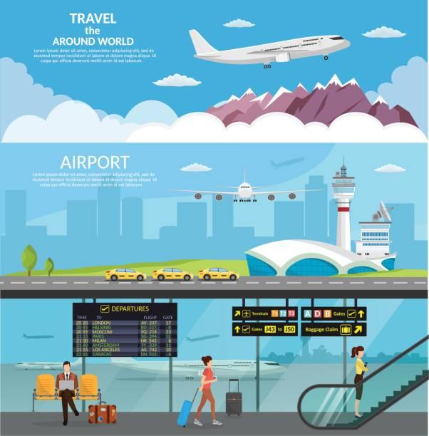 illustrations, cliparts, dessins animés et icônes de aérogare de l'aéroport et de la salle d'attente. internationaux d'arrivée départs background vector illustration avion infographique - terminal aéroportuaire