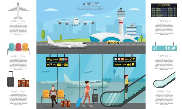Airport passenger terminal and waiting room. International arrival departures background vector illustration airplane of infographic Airport passenger terminal and waiting room. International arrival departures background vector illustration airplane of infographic airport drawings stock illustrations