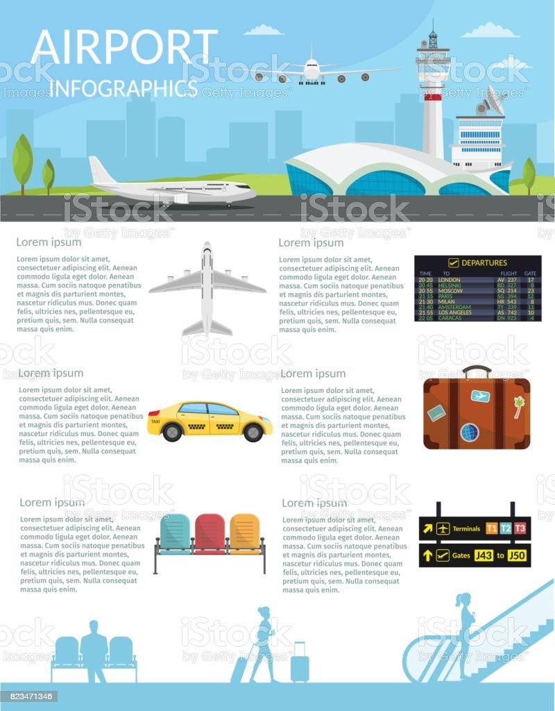 Airport passenger terminal and waiting room. International arrival departures background vector illustration airplane of infographic vector art illustration
