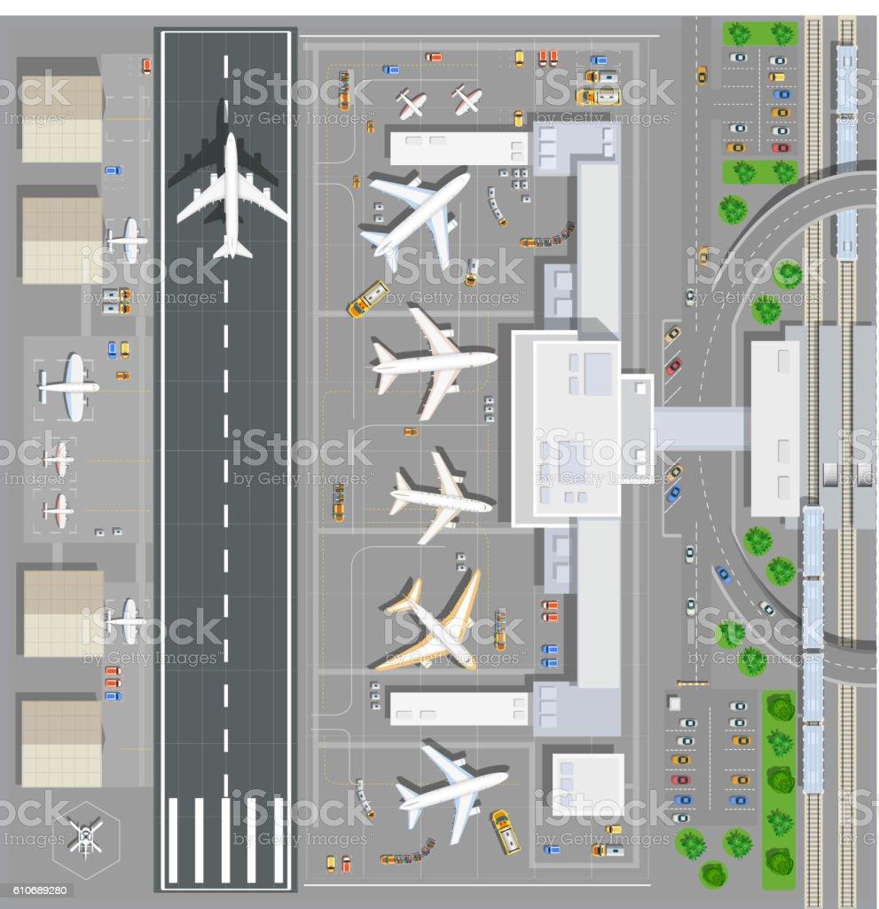 Airport passenger terminal vector art illustration