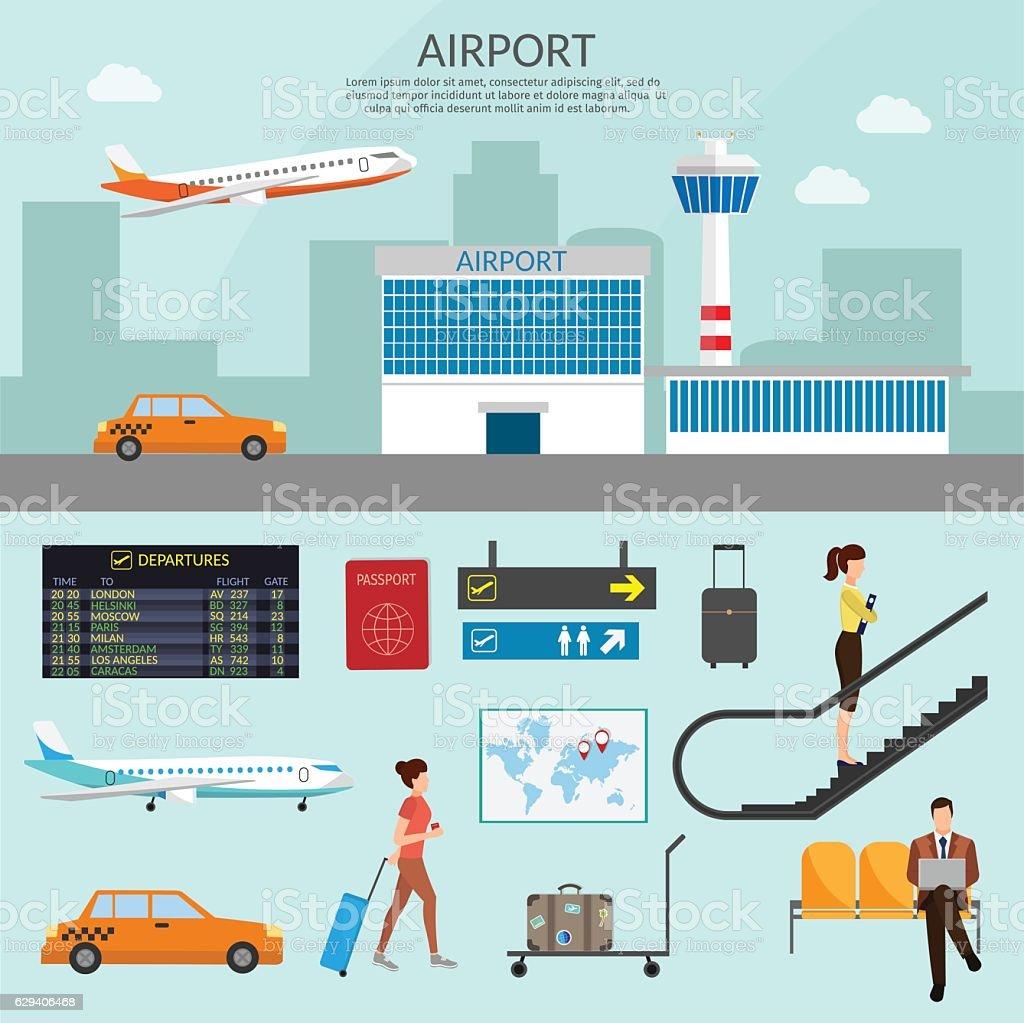 Airport passenger terminal waiting room. International arrival departures background vector vector art illustration