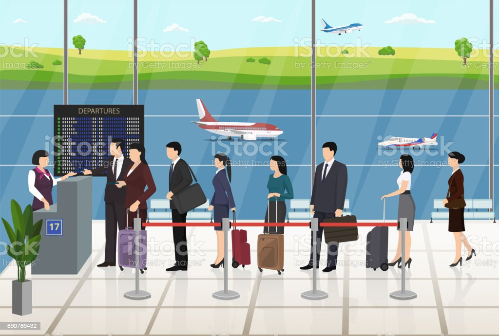 Airport Passengers Registration Waiting in line vector art illustration