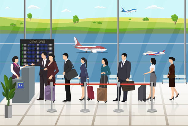 airport passengers registration waiting in line - business travel stock illustrations, clip art, cartoons, & icons