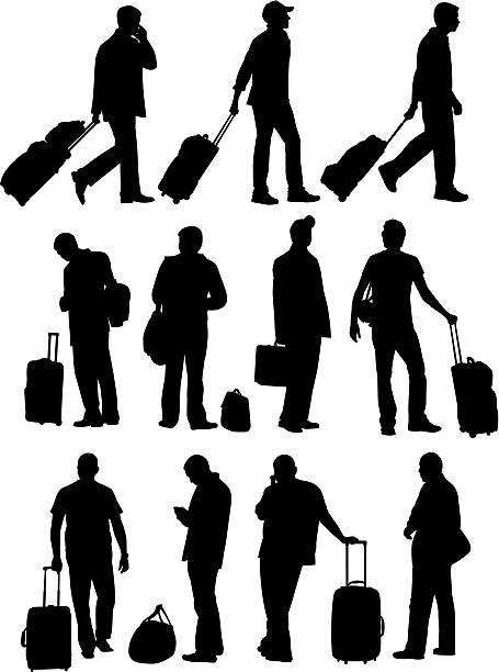 Airport People  airport silhouettes stock illustrations