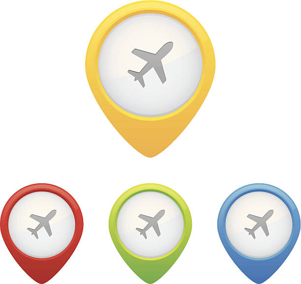 Airport Pins Colorful set of airport map markers or pins. aviation and environment summit stock illustrations