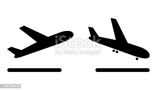 istock airport plane arrival and departure icons on a white background 1267029479
