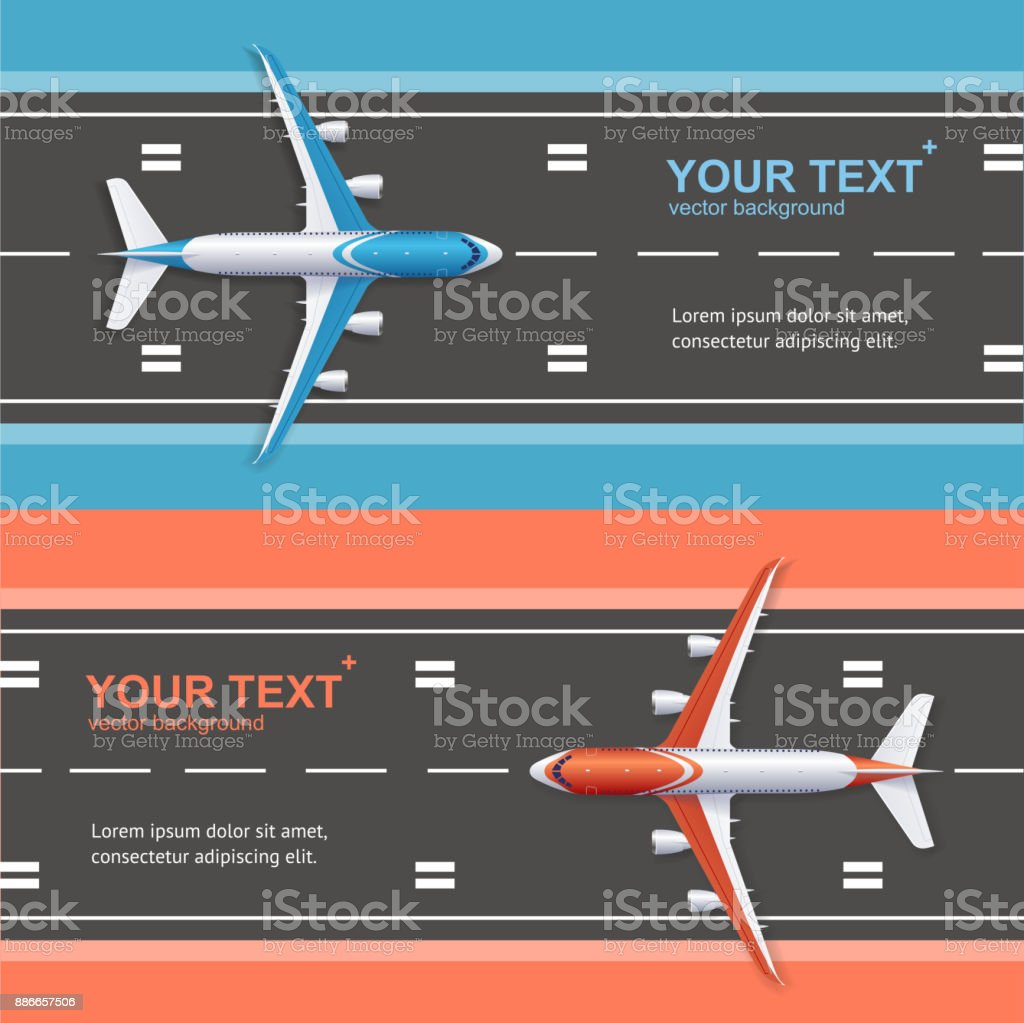 Airport Plane Runway Travel Concept Flyer Banners Posters Card Set. Vector vector art illustration