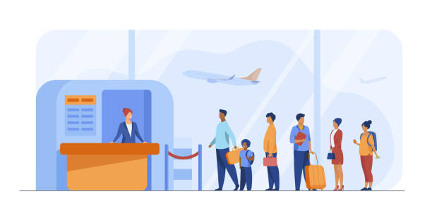 Airport queue vector illustration Airport queue vector illustration. Line of tourists standing at check in desk. Flight passengers waiting for boarding to plane in departure area airport stock illustrations