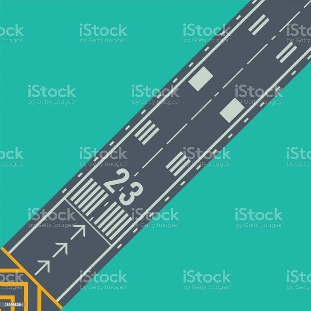 Airport runway for taking off and landing aircrafts vector art illustration