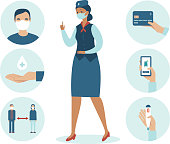 Airport safety guidance for travel by air during pandemic. Icon set for coronavirus COVID-19 outbreak. Stewardess character wearing protective medical mask. Flat vector illustration