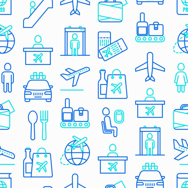 Airport seamless pattern with thin line icons: check-in counter, gates, boarding pass, escalator, toilet, food court, baggage claim, wrapping service, duty free, departures. Vector illustration. Airport seamless pattern with thin line icons: check-in counter, gates, boarding pass, escalator, toilet, food court, baggage claim, wrapping service, duty free, departures. Vector illustration. airport patterns stock illustrations