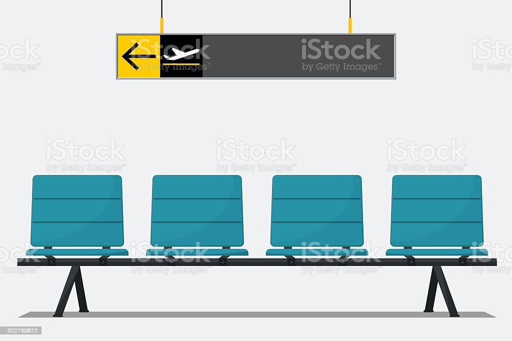 Airport seat in waiting area and wayfinding signage. vector art illustration