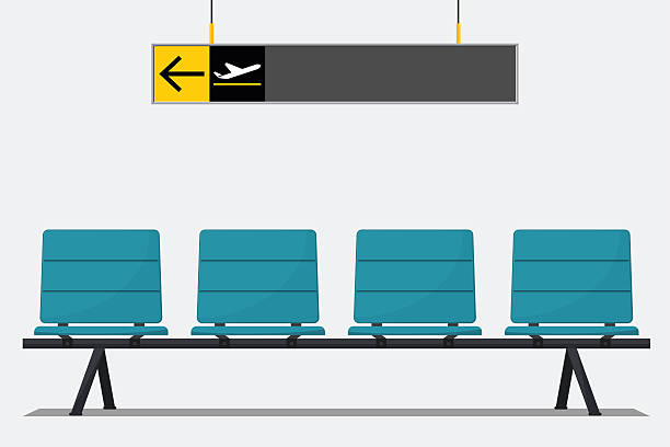 Airport seat in waiting area and wayfinding signage. Blue airport seat in waiting area and wayfinding signage. Flat design. Vector Illustration. airport clipart stock illustrations