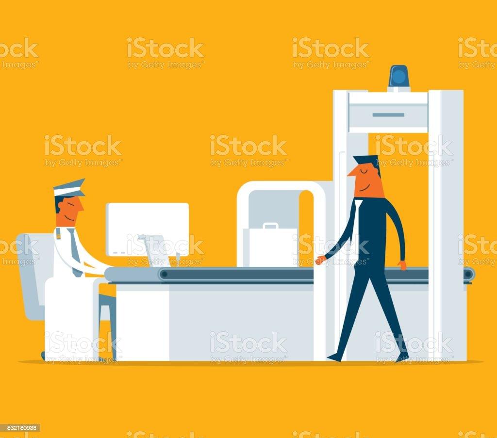 Airport Security - Businessman vector art illustration
