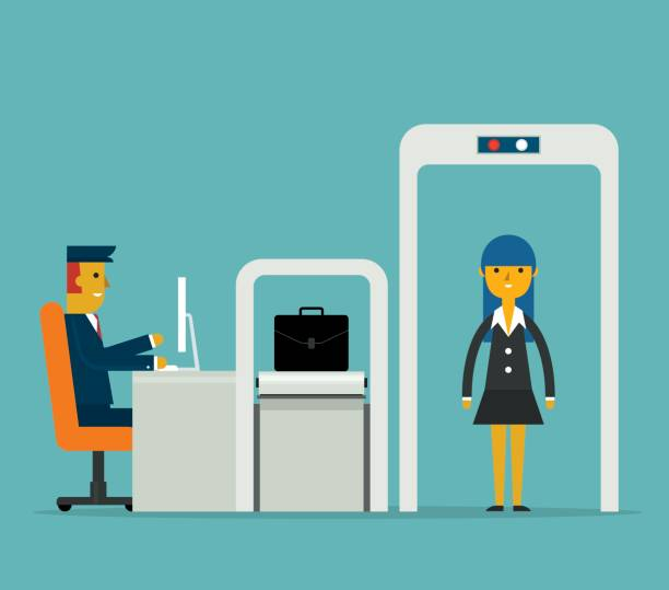 Airport Security - Businesswoman - front view vector art illustration