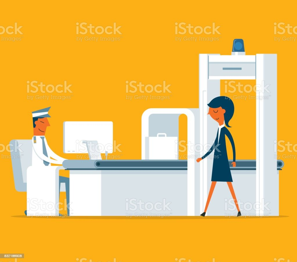 Airport Security - Businesswoman vector art illustration