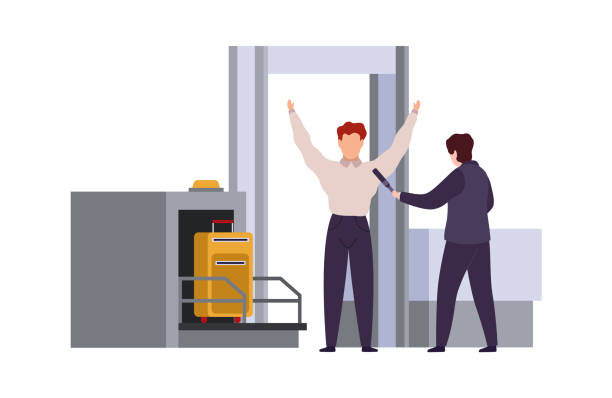 Airport security check. Tiling out baggage and screening or scanning bags vector cartoon travel concept Airport security check. Tiling out baggage and screening or scanning bags vector cartoon travel control concept airport borders stock illustrations