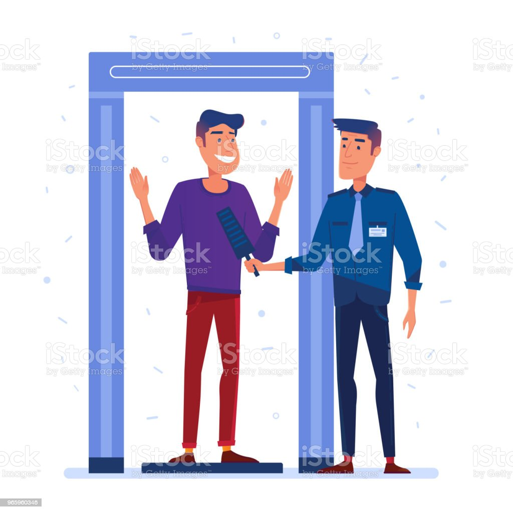 Airport security guard on metal detector check vector art illustration