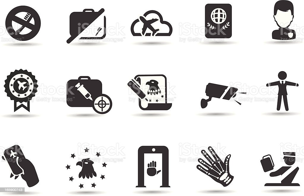 Airport Security Icons vector art illustration