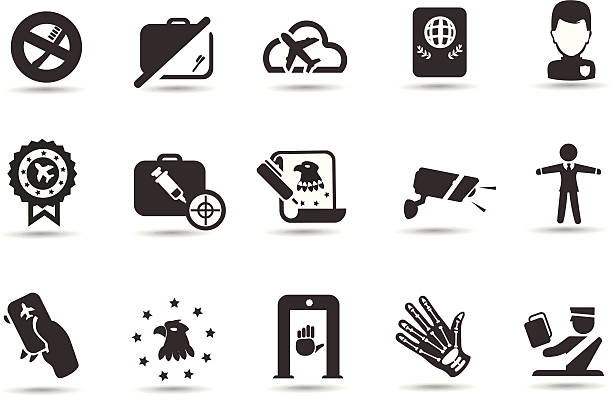 Airport Security Icons Professional Vector Icons with High resolution jpeg and transparent PNG file.  Icons for airport and flight.  airport borders stock illustrations