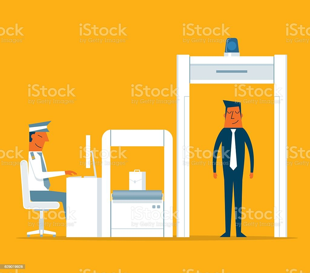 Airport Security vector art illustration