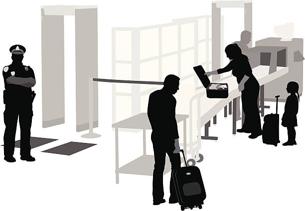 Airport Security Vector Silhouette A-Digit airport silhouettes stock illustrations