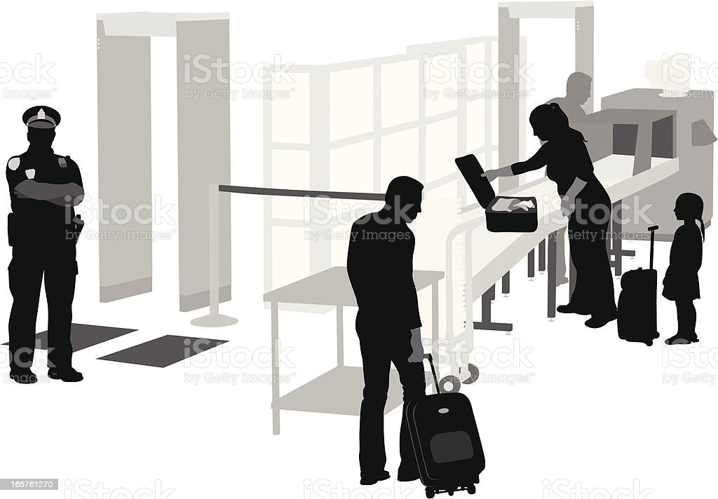 Airport Security Vector Silhouette vector art illustration