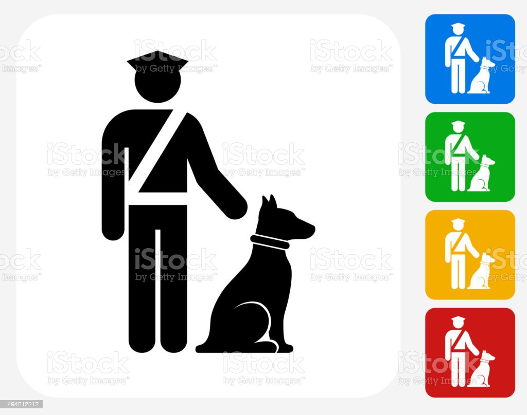 Airport Security wit Dog Icon Flat Graphic Design vector art illustration