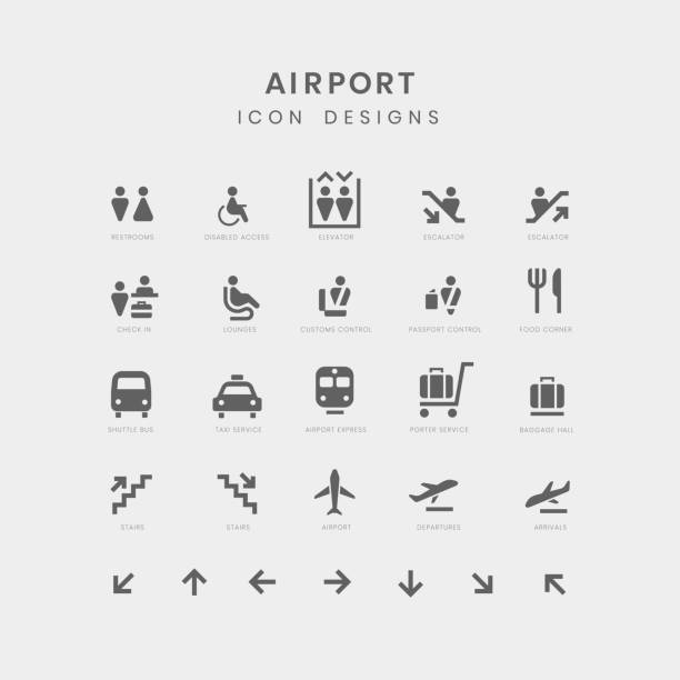 Airport service signs vector set Airport service signs vector set airport icons stock illustrations