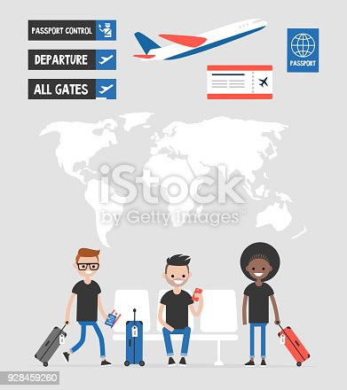 Airport Set Travel Collection Signs And Symbols World Map Passengers