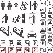 Airport, Shopping mall Icons set