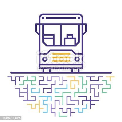 istock Airport Shuttle Line Icon Illustration 1085262624