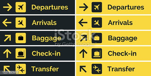 istock Airport sign departure arrival travel icon. Vector airport board airline sign, gate flight information 1227332517