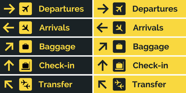 Airport sign departure arrival travel icon. Vector airport board airline sign, gate flight information Airport sign departure arrival travel icon. Vector airport board airline sign, gate flight information. airport icons stock illustrations