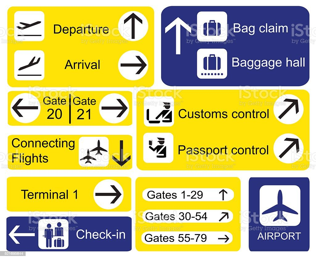 Airport Signs Stock Vector Art Amp More Images Of Advice
