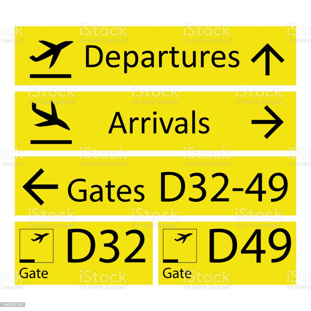Airport Signs,isolated on white background vector art illustration