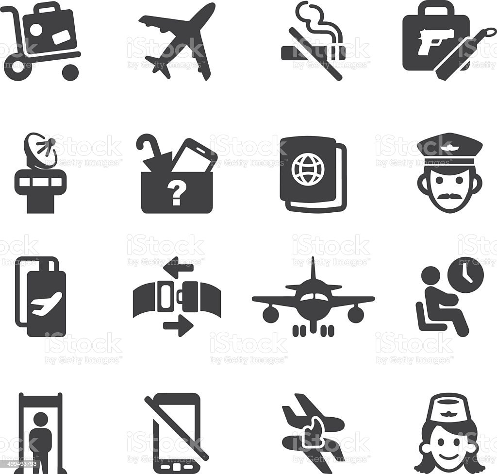 Airport Silhouette icons 1 | EPS10 royalty-free stock vector art