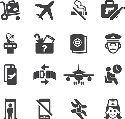 Airport Silhouette icons 1   EPS10