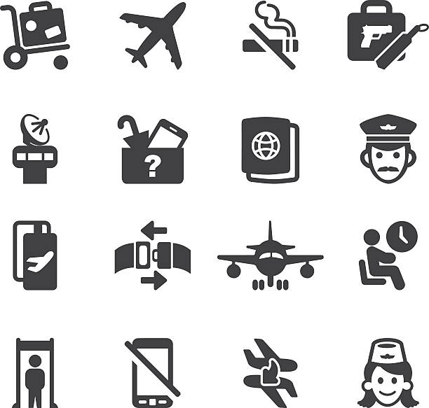 airport silhouette icons 1 | eps10 - commercial airplane stock illustrations