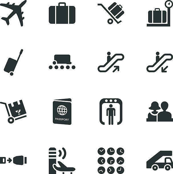Airport Silhouette Icons Airport Silhouette Vector File Icons. airport clipart stock illustrations