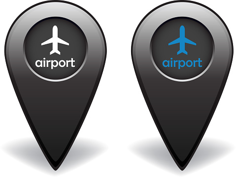 Airport silver map pointer for GPS navigation