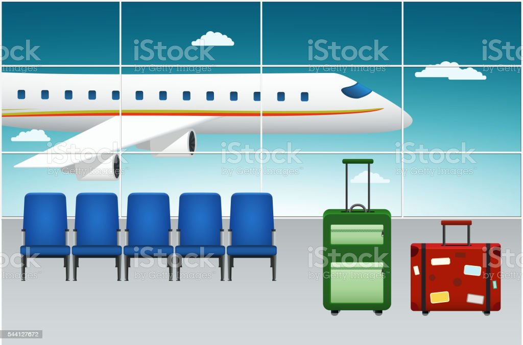 Airport Terminal. Arrival Flight. vector art illustration
