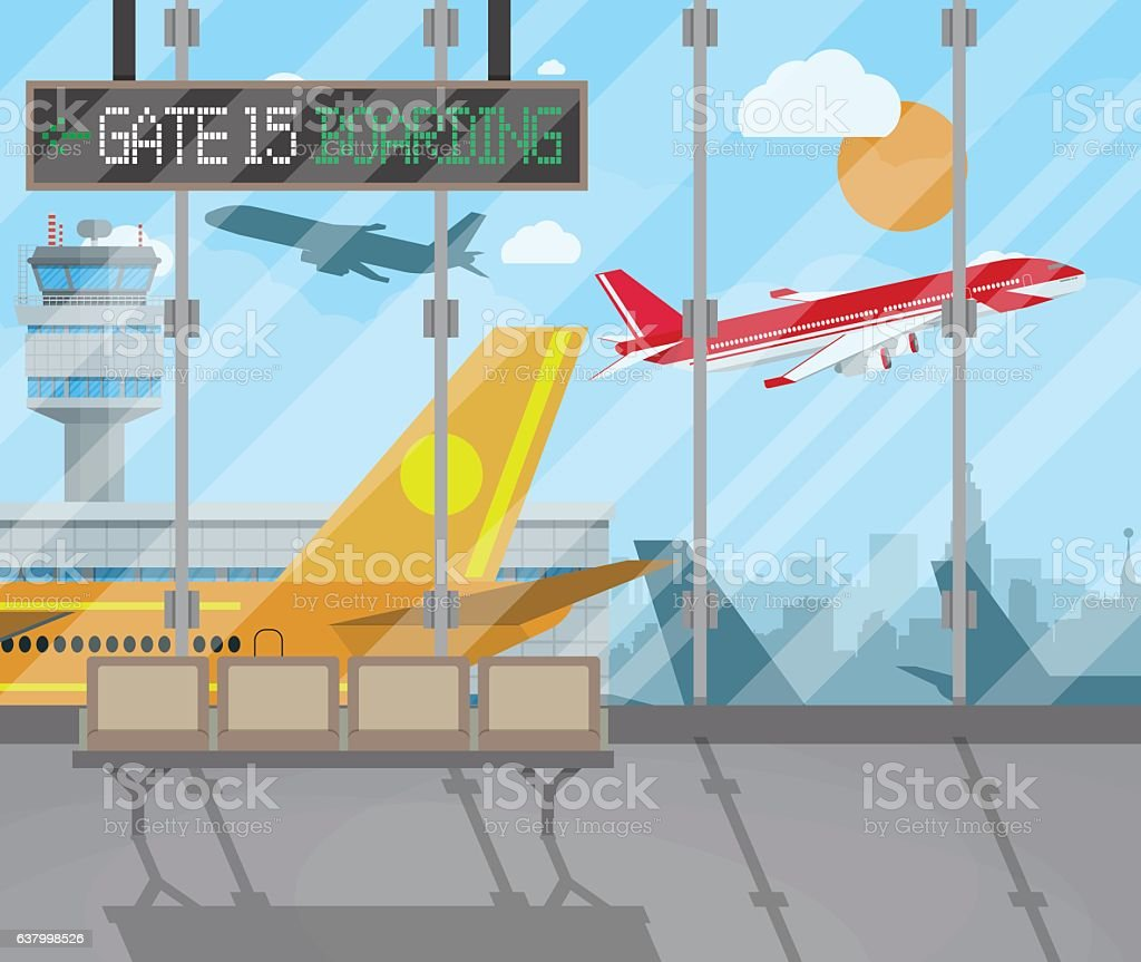 airport terminal background vector art illustration