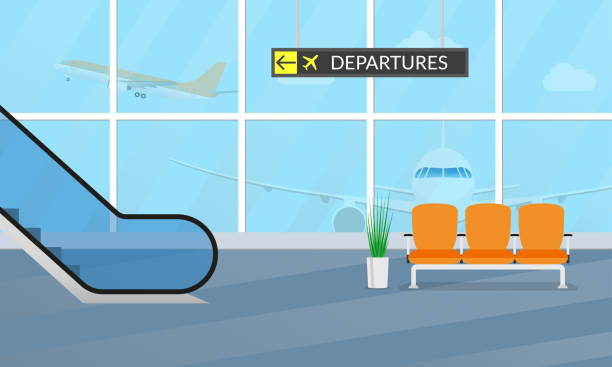 Airport terminal background. Waiting hall interior with the airplanes outside the window. Departure lounge with chairs and escalator. Vector illustration. Airport terminal background. Waiting hall interior with the airplanes outside the window. Departure lounge with chairs and escalator. Vector illustration. airport stock illustrations